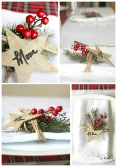 Birch Bark Holiday Place Settings. Easy DIY project for the holidays with…