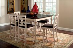 Antique White/Merlot Finish Counter Height Dining Table + 6 Chairs - Furniture 2 Go