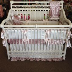 buy popular 7d351 24988 White and pink velvety crib bedding set called Cleopatra by Pine Creek  Bedding on display at Storkland in Oklahoma City on Baby s Dream Furniture  Cirque ...