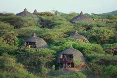The safari lodge, nestled in natural beauty, at the Serengeti National Park in Tanzania
