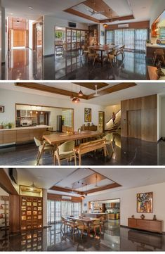 Contemporary House With a Simple Layout- dining decor Apartment Furniture, Apartment Interior, Apartment Kitchen, Apartment Ideas, Simple House Plans, Simple House Design, Home Design Living Room, Ceiling Design Living Room, Studio Apartment Decorating