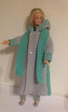 Made this crochet Barbie jacket . Made this crochet Barbie jacket More Made this crochet Barbie jacket Crochet Barbie Patterns, Crochet Doll Dress, Barbie Clothes Patterns, Crochet Barbie Clothes, Doll Clothes Barbie, Doll Patterns, Fashion Sewing, Crochet Fashion, Fashion Dolls