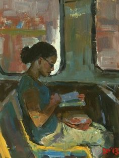 DARREN THOMPSON FINE ART: Reader Reader is part of an ongoing series. The figure in this painting is doing her reading on a train ride in Chicago. The horizontal shapes are contradicted by the vertical white shape that outlines the face. Reading Art, Woman Reading, Reading Library, Art For Sale Online, Illustration Art, Illustrations, Black Women Art, Figure Painting, Online Art Gallery