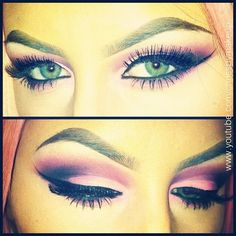 Pink! I used coastal scents shadows with carbon eyeshadow for...