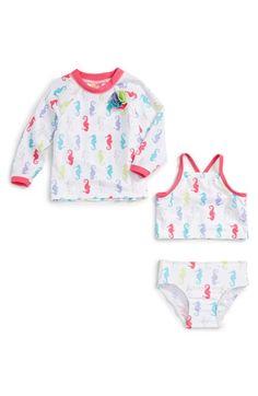 Sol Swim 'Pretty Seahorse' Three-Piece Rashguard Swimsuit (Baby Girls)