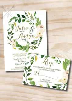 Watercolor Floral Wreath Wedding Invitation Response Card Invitation Suite, Greenery, Floral, Romantic, Olive Green and Soft Pink by PaperHeartCompany on Etsy