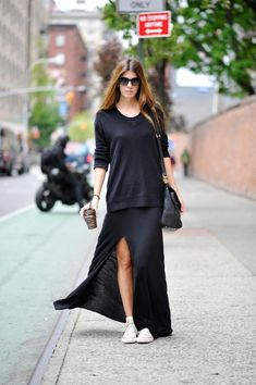 LE FASHION BLOG MUST HAVE WHITE HIGH TOP CONVERSE SNEAKERS MARIE CLAIRE KOREA BIANCA BRANDOLINI OVERSIZED BLACK SWEATER BLACK JERSEY THIGH S...