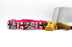 Flower Dog Collar with Rhinestones, Fancy Bling Dog Collar, Fancy Floral Dog Collar, #dog #femalesparkle #catcollar #fancydog #blingdogcollar #dogbling Bling Dog Collars, Pet Collars, Designer Cat Collars, Pink Dog, Girl And Dog, Clay Beads, Day Use, Beaded Flowers, Flower Dog
