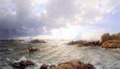 Hans Gude (Norwegian 1825–1903) [Norwegian romantic nationalism] Brenning Ved Hankø, 1890. Private Collection.