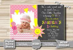 1st Birthday Invitation Girl - First Birthday Invitations Girl - Photo Invitations Girl - Birthday Party Invitation - Girl Invitations by DigitalitemsShop on Etsy
