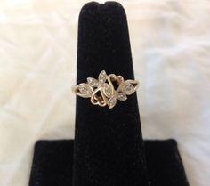 #jewelry 10KT GOLD DOUBLE HEART & MULTI DIAMOND RING- SIZE 6.5 please retweet