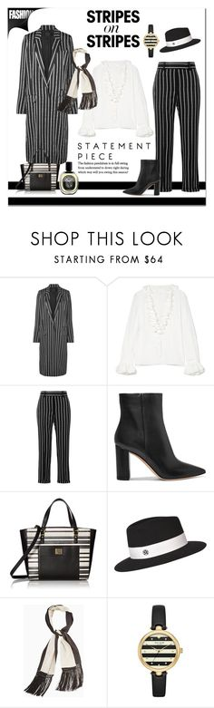 """""""Stripes On Stripes"""" by victorianheaven ❤ liked on Polyvore featuring Haider Ackermann, Philosophy di Lorenzo Serafini, Gianvito Rossi, Anne Klein, Maison Michel, BCBGMAXAZRIA, Kate Spade, Diptyque, stripesonstripes and PatternChallenge"""