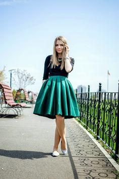 Pink Wish: EMERALD GREEN\ midi skirt, tea length skirt, princess ...