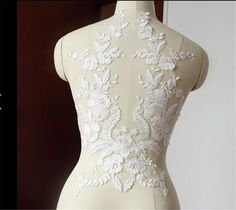 1 Piece French Lace Fabric Ivory White Black Cotton Embroidered Lace Applique For Wedding Dress Accessories Handmade DIY Craft Lace Wedding Dress, Applique Wedding Dress, Applique Dress, Bridal Wedding Dresses, Lace Weddings, Bridal Lace, Flower Applique, Ivory Wedding, Embroidery Applique