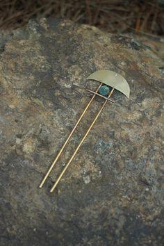 Brass hair fork boho gemstone hair pin large by Kapelika on Etsy