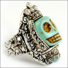Rockabilly Jewelry & Retro Jewelry Facts, Fashions, & Trends: Day of the Dead BIG Skull Rings from Ollipop Jewelry