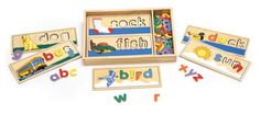 Old school wooden spelling board puzzles - part of a gift guide for Children from Haute|31