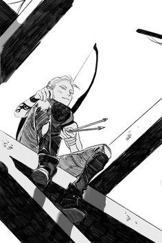 Sketch of Mark Blackthorn. Perched up high