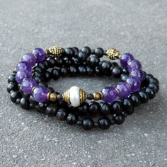 healing and strength, 108 bead ebony and amethyst necklace with Tibeta – Lovepray jewelry