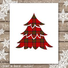 Red Tartan Christmas PRINTABLE Red Plaid by Justabirdprintables