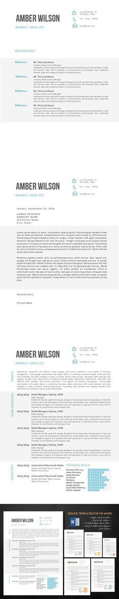 Resume Template Word Modern Clean CV Resume Templates Pinterest