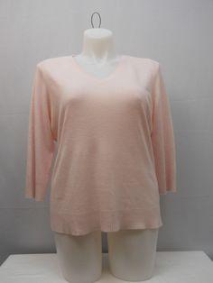 Sweater Size 2XL KAREN SCOTT Women's Solid Pink 3/4 Sleeves V-Neck Soft Pullover #KarenScott #VNeck