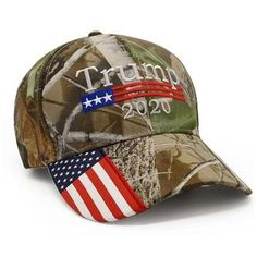 Donald Trump 2020 Cap real tree camo hat with american flag sewn on visor Usa Cap, Country Hats, Trump Hat, Donald Trump Supporters, Trump Is My President, Wounded Warrior Project, Camo Hats, Realtree Camo, Argentina