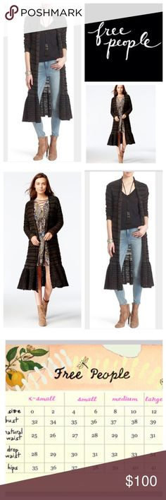 """Free People Peplum Long Cardigan Sweater.  NWT Free People Balsalm Combo (Black/Grey) Peplum Long Cardigan Sweater, cotton/polyester/linen/acrylic/nylon/wool/alpaca, washable, 21"""" armpit to armpit (42"""" all around), 23"""" arm inseam, 43"""" length, collarless, open draped front, peplum hem, allover stripes, long sleeves, extremely soft knit material, measurements are approx.  NO TRADES Free People Sweaters Cardigans"""