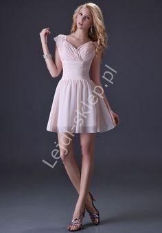 Szyfonowa krótka sukienka na wesele, studniówkę, urodziny | sukienki wieczorowe