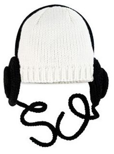 Headphone Baby Toddler Hat in White and Black