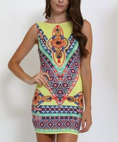 This Yellow & Blue Geometric Bodycon Dress is perfect! #zulilyfinds