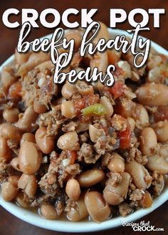 These Crock Pot Beefy Hearty Beans are a great way beef up a weeknight dinner. T… These Crock Pot Beefy Hearty Beans are a great way beef up a weeknight dinner. They can be prepped the night before and cook all day! Beans In Crockpot, Crockpot Dishes, Crock Pot Slow Cooker, Crock Pot Cooking, Beef Dishes, Slow Cooker Recipes, Crockpot Recipes, Crockpot Veggies, Crock Pots