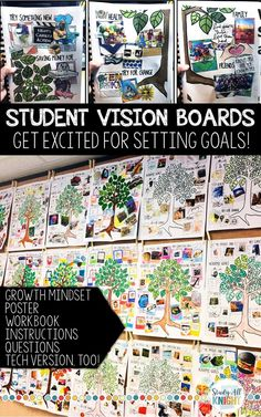 Vision Board Student Workbook, Goal Setting, It's Also a Poster!You can find Growth mindset and more on our website.Vision Board Student Workbook, Goal Setting, It's A. Goal Setting Activities, New Years Activities, Back To School Activities, Writing Activities, School Ideas, School Projects, Leadership Activities, Physical Activities, Growth Mindset Activities