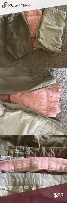 Gap shorts bundle Set of 3 gap shorts . Worn once . Size 00 but fits like a 1-2 IMO. 2 are more Bermuda style and one dark khaki is regular 3 inch . Would trade for other size 4 shorts . Gap Shorts