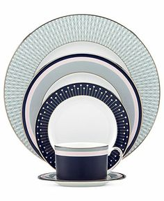kate spade new york Dinnerware, Mercer Drive Platinum 5 Piece Place Setting - Fine China - Dining & Entertaining - Macy's