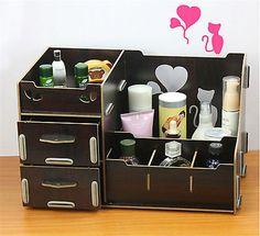 Online Shop Acrylic Wooden Makeup Organizer Diy Desktop Storage - Cosmetic makeup organizer wood countertop organizer by lessandmore