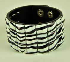 Zebra Pyramid Wristband Cuff