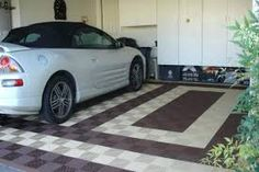 Awesome-small-Garage-Floor-Tile-ideas-with-white-cabinet Composing the ideas about garage floor tile will be the boring action for some people. Rubber Garage Flooring, Garage Floor Mats, Garage Floor Paint, Diy Flooring, Flooring Options, Driveway Design, Painting Concrete, Decorative Tile, House Design