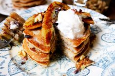 Chocolate chip buckwheat pancakes with fried banana. Gluten free & dairy free.