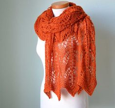 Lace knitted shawl orange G761 by Berniolie on Etsy, $95.00