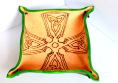 LEATHER TRAY green leather Celtic cross