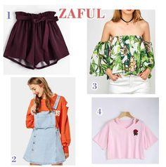 Bruna Virgínia da Silva: Wihlist Zaful! Short roxo! Blusa ombro a ombro tropical, vestido jeans, cropped rosa