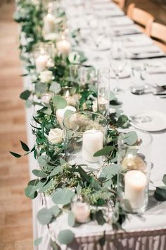 chic long table wedding centerpiece ideas wedding flowers 25 Budget Friendly Simple Wedding Centerpiece Ideas with Candles - EmmaLovesWeddings Romantic Wedding Centerpieces, Wedding Bouquets, Head Table Wedding Decorations, Head Table Decor, Wedding Table Garland, Wedding Greenery, Wedding Long Table Flowers, Flowers On Table, Flowers For Weddings