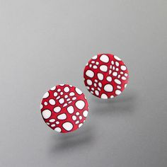 Bodovky - so cute! Red stud earrings with white dots