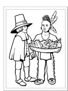 Color A Pilgrim And Native American