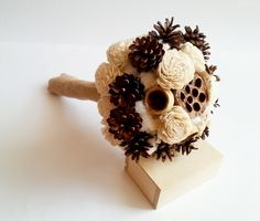 Cream rustic wedding BOUQUET Ivory/Cream Flowers, pine cones, bell cup, burlap,cotton, autumn, winter wedding, sola roses, winter wonderland - pinned by pin4etsy.com