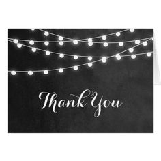 Outdoor Wedding Thank You Cards Summer String Lights Wedding Thank You Card