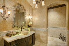 Traditional Full Bathroom with Flat panel cabinets, Pendant light, limestone tile floors, Undermount sink, High ceiling