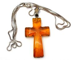 Carved Amber Cross Pendant Necklace KT 925 Vintage - The Jewelry Lady's Store - 1