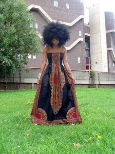 African Dashiki Print Maxi Dress And Afro African Inspired Fashion, African Print Fashion, Fashion Prints, African Prints, African Patterns, Africa Fashion, Tribal Fashion, African Fabric, African Attire